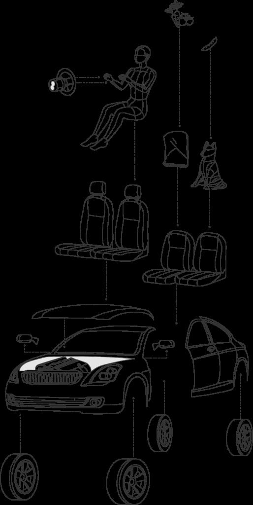 Auto Schadensabwicklung bei Unfall - Illustration