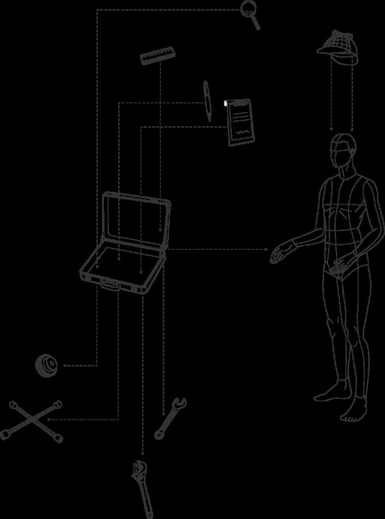 KFZ Gutachter mit Sherlock Holmes-Kappe und Werkzeugkoffer - Illustration